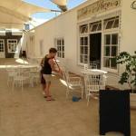 Rachel keeping the cafe spotless