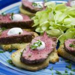 Beef Tenderloin on garlic crostini and horseradish cream - part of 10 seasonal passed hors d'oeu
