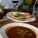 Soup on a rainy day and keep chicken burger