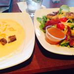 Cheese soup (bowl) and side salad