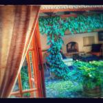 Orchideas suite - view onto courtyard from bedroom