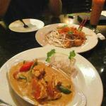 Panang chicken curry and shrimp pad thai