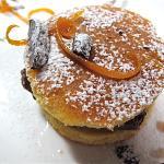 Mousse di torrone Nurzia con pan di Spagna allo zafferano di Navelli  e arance candite