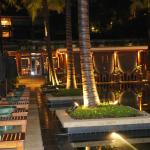 Restaurant overlooks the pool and bar area