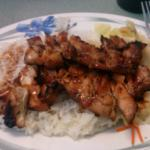 Teriyaki Chicken Plate with white rice and vegetables.