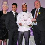 Chef Shazu Miah receiving 2013 Curry Life Magazine  chef of the year award from local MP Eric Pi