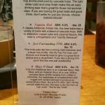 Back of beer menu
