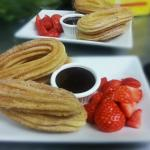 Christmas Pudding - Churros with Chocolate sauce and Strawberries