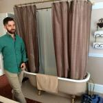 Winifred Suite bedroom (claw-foot bathroom IN the bedroom!!)