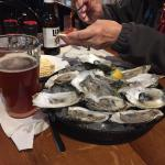 Blue point oysters and Bluegrass Brewery Bourbon Brewed Ale