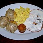 Biscuits &Gravy, Eggs, Bagel & Cream Cheese, and Banana Nut Muffin