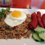 Brunch nasi goreng with corned beef and Portuguese sausage