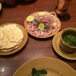 The munches before the food ... Indian papad, onions and the green chutney