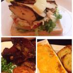 Cajun chicken open sandwich, rib tickler, lasagne!