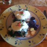 "Our Eggs Benedict ""Vermontaise"" with potatoes from their garden"