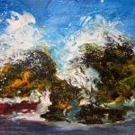 Wave on rocks, Acrylic 70 x 70 cm