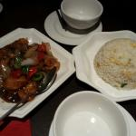 Egg fried rice and prawns in black bean sauce