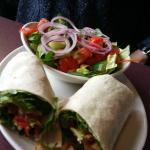 Chicken sandwich wrap and salad, os Good Thymes Restaurant & Bar  |  1607 Gordon Ave , The Pas,