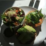 Cashew salad and Adzuki bean burger. yummy yummy