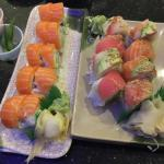 California roll with salmon and a rainbow roll