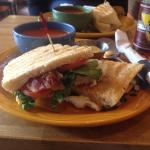 Was so delicious. Yummy BLT sandwich and bowl of tomato soup.