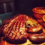 Sharing rib of beef.