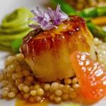 Jumbo Scallops with Grapefruit Shallot Reduction, Vanilla Cous Cous, Avo Mousse and Asparagus
