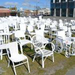 ‪185 Empty White Chairs - Earthquake Memorial‬