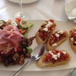 Bruschetta, antipasto tray