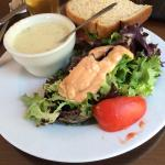 Soup salad and sandwich