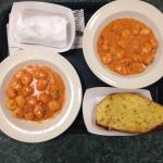 Gnocchi with pink sauce and a side of garlic bread