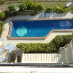 Looking down at the pool area