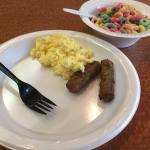 scrambled eggs, sausages and fruit loops