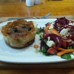 Delicious mushroom quiche done in phyllo pastry and a scrumptious salad