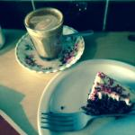 cappuccino and red velvet cake