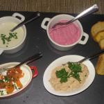 mini entrées à base de betterave, thon, fromage, saumon