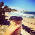 Starting the day off right; sun, surf, and strong coffee!
