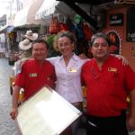 Senora Greta & 2 of the restaurant guys, outside Hotel Belmar