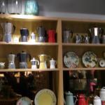 display of coffee pots