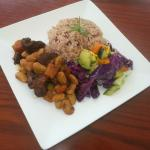 Stewed Beef served with Rice & Peas and Steamed Vegetables