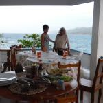 al fresco eating on the verandah with ocean and mountain views