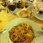 Spaghettis frutti di mare et spaghettis gamberoni