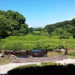 名護屋城横の茶苑「海月」お庭がとっても美しく素敵な処です。 またこちらから見える名護屋城もよかったです。 のんびりゆったり幸せを感じますよ! お友達のお箏の発表会で知りました。 入場券で抹茶、