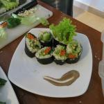 raw food nori rolls with mushroom miso sauce