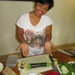 my beautiful friend showing us all up, making perfect nori roll the first time :D