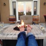Toasty toes by the fire pit.