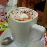 Cappuccino topped with grated dark chocolate