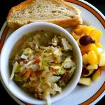They always have soups to eat there or to take with you.  There is always a vegetarian choice as