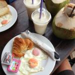 Egg sandwich (on baguette, and croissant) banana shake