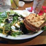 Club sandwich with side salad